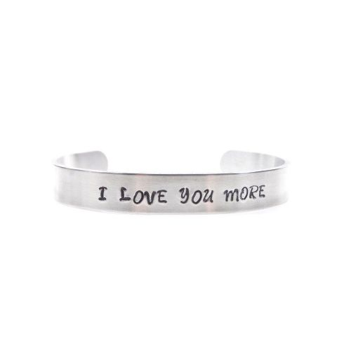 Hand Stamped Bracelet Bangle - I Love You More - Gift Boxed - Free P&P